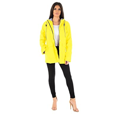 328c6e6d6cd MyShoeStore Ladies PVC PU Rain Mac Womens Rubberised PU Raincoat Waterproof  Festival Parka Parker Hooded Jacket Water Resistant Designer Girls Kagool  ...