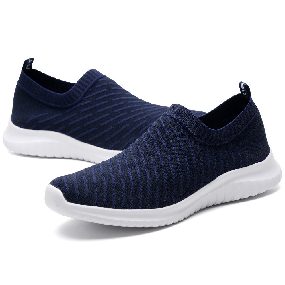 KONHILL Men's Casual Walking Shoes - Knit Breathable Tennis Athletic Running Sneakers Shoes B079QFYNZR 6.5 D(M) US 2108 Navy