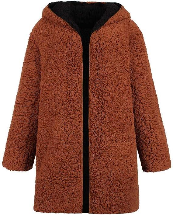 Miuye yuren-Clothing Womens Warm Faux Shearling Shaggy Dichroic Outwear Jacket Reversible Winter Parkas Anoraks Overcoat