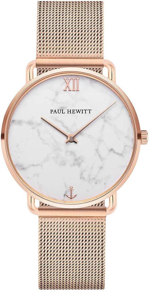 PAUL HEWITT Reloj de muñeca para Mujer en Acero Inoxidable Miss Ocean Marble - Reloj de Pulsera de Acero Inoxidable en Oro Rosa, Reloj de muñeca para Mujer con Esfera de mármol