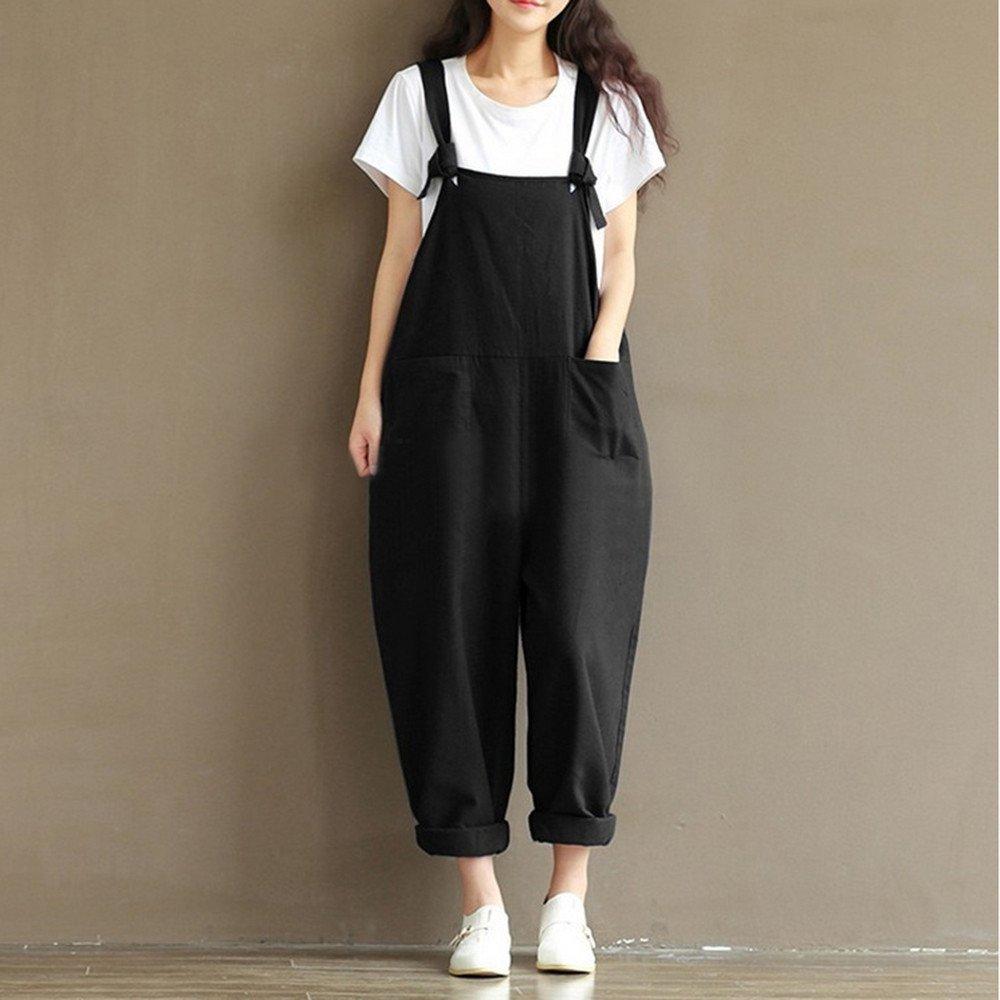 ZEFOTIM Womens Loose Jumpsuit Strap Belt Bib Pants Trousers Casual Overall Pants (XL,Black) by ZEFOTIM (Image #2)