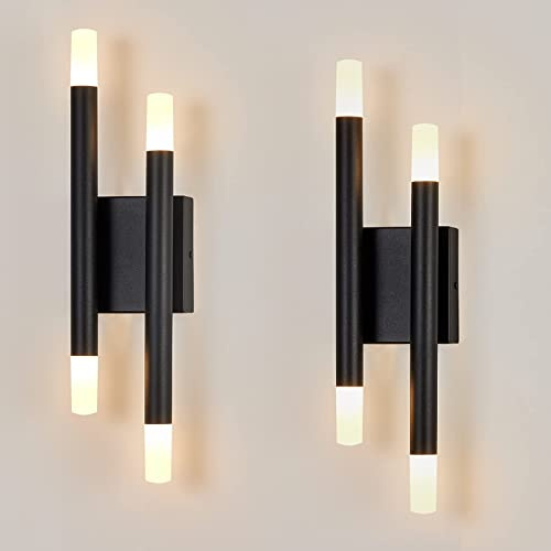 Briboom Black Modern Wall Sconces Set of Two Bathroom Light Fixtures 4 Lights 12W 3000K Warm Light Acrylic Wall Sconce Lighting Wall Light