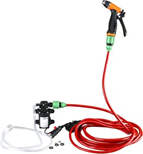 """Amarine Made Electric Washer Pump Kit,12V Portable High Pressure Water Pump with 23.6"""" PVC Pressure Hose and Independent Power Switch,Wash Device for Auto RV Marine,Home,Garden,Vehicles"""