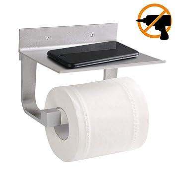 flintronic Portarrollos para Papel Higiénico, Portarrollos Baño Soporte 80MM Pie Alto Diseño con Estante de Almacenamiento (Pegamento Patentado + ...