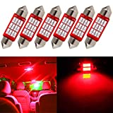 cciyu Dome Light, 6Piece Super Bright Red LED 36MM Epistar Festoon LED Bulb for Map Light DE3423 DE3425 C5W 3423