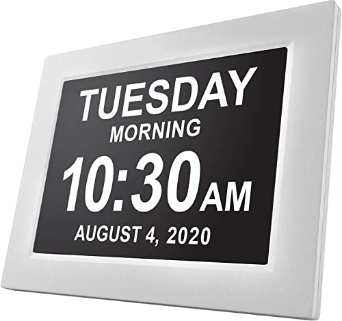 American Lifetime, Newest Version, Day Clock Extra Large Impaired Vision Digital Clock with Battery Backup and 5 Alarm Options White