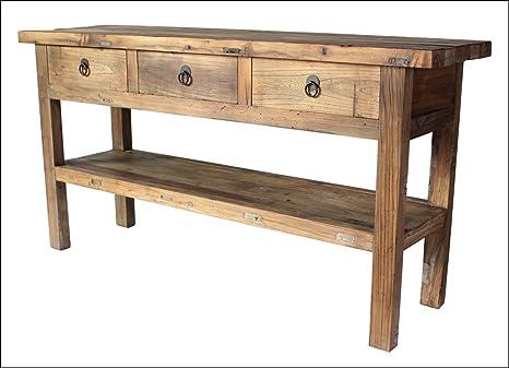 Diseño con estilo rústico de haya maciza mesa consola ...