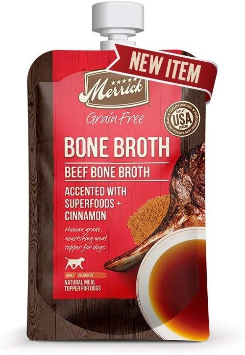 Merrick Grain-Free Bone Broth Dog Food Topper, 7 Ounces, Beef, Made in The USA