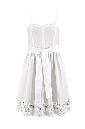 separation shoes d1789 c7c83 AJC Damen-Kleid Kleid mit Spitze Weiß: Amazon.de: Bekleidung