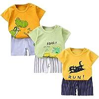 XM-Amigo Juego de 3 pantalones cortos de manga corta para bebé, de media manga, pack de 6 (con/sin hebilla de hombro)