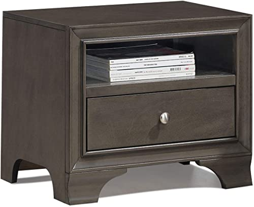 Giantex Wooden Nightstand W/One Drawer and one Shelf and USB Port Charging Home Furniture