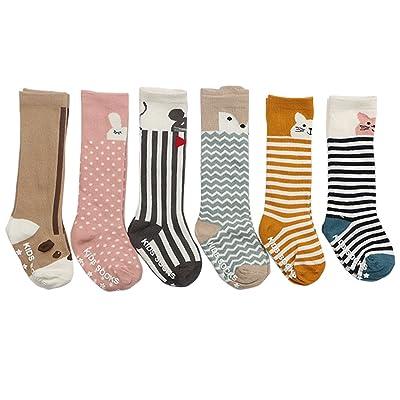 Unisex Animal Theme Baby Girls Boys Socks Knee High Stockings Anti Skid Socks 6 Pairs
