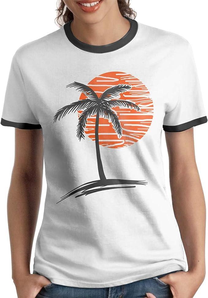 Queen Elena - Camiseta de Manga Corta con diseño de Sol y Palmera, Color contrastante, para Parejas Negro Negro (S: Amazon.es: Ropa y accesorios