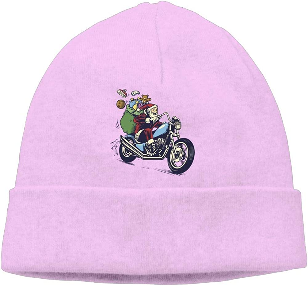 Oopp Jfhg Santa Riding A Motorcycle Beanie Knit Hat Skull Caps Men Pink