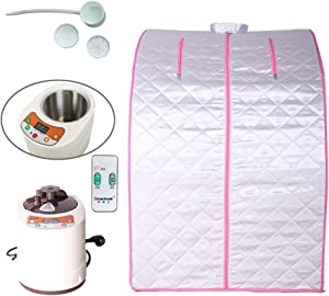 Smartmak Portable Steam Sauna, at Home Full Body One Person Spa Tent, 2L Steamer with Remote Control, eco-Friendly Indoor Weight Loss Detox Therapy, Herbal Box Included(US Plug)- Pink Border