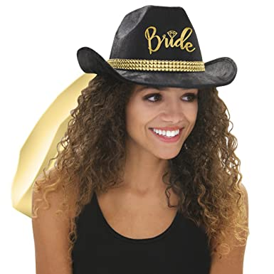 01f1579fc7925 Country Western Metallic Gold  Bride  Black Hat with Gold Veil - Cowgirl  Bachelorette Party or Bridal Shower Accessory at Amazon Women s Clothing  store