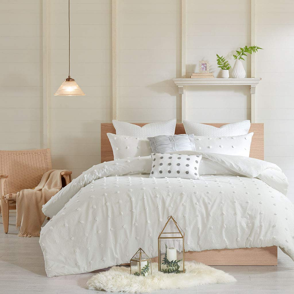 Urban Habitat Brooklyn Teen Girls Duvet Cover Set Full/Queen Size - Ivory, Tufted Cotton Chenille Dots - 7 Piece Duvet Covers Bedding Sets - 100% Cotton Jacquard Girls Bedding Bed Sets