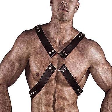 Mens Nylon Body Chest Harness Shoulder Muscle Restrain Belt Costume Clubwear