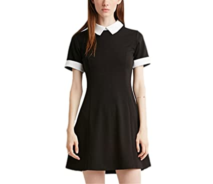 76520cd8c2a Beverly Campbell Fashion Black Dress White Collar Summer Cute Peter Pan  Collar School Preppy Style Dresses