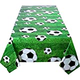 Boao 2 Pieces Soccer Ball Tablecloth Green Plastic Party Sports Table Cover for Wedding Party Banquet Decoration, 47.2 x 71 Inches