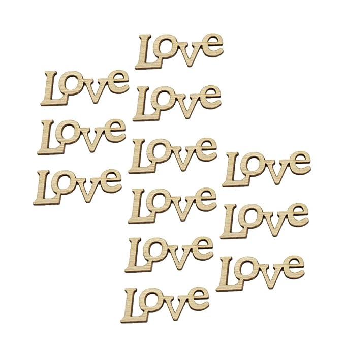 STOBOK 50pcs amor de madera letras sin terminar de madera de recortes de madera da forma a discos rebanadas de piezas de madera de DIY de la fiesta de cumplea/ños de la boda favorece piezas centrales