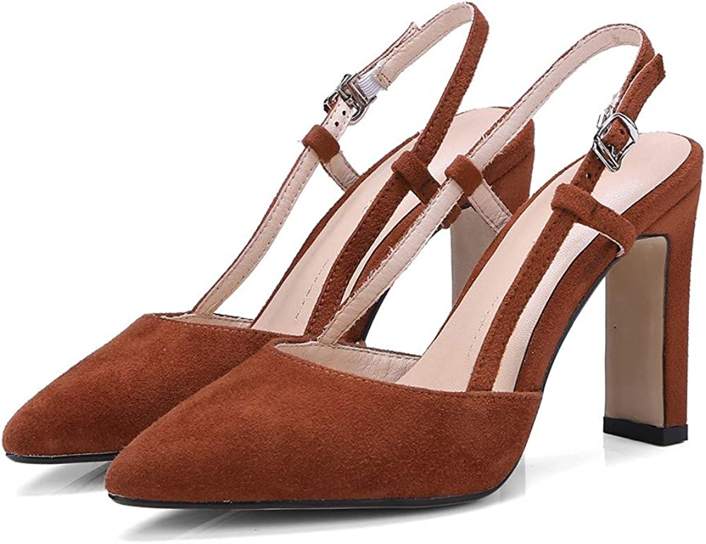 ZHEYUG Red Brown Black Pumps Women Shoes Pointed Toe Summer Shoes Suede Leather Party Wedding Shoes Buckle High Heels Shoes