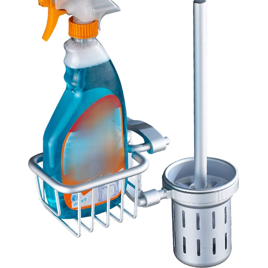 YXN Toilet Brush Holder Set Space Aluminum Belt Toilet Brush Cup with Countertop Bathroom Cleaning Toilet Brush Toilet Brush Silver H38.5 cm