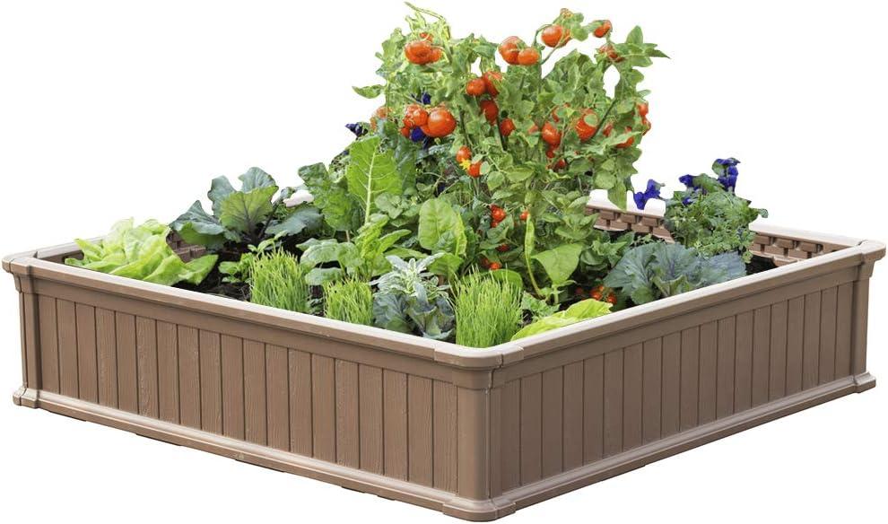 Modern Home Raised Garden Bed Kit - Stackable Modular Flower/Planter Kit (4'x4' Brown, Single)