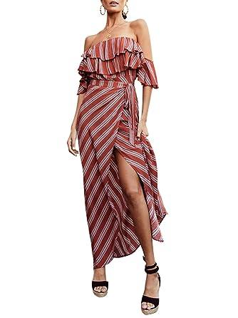 2a19b2b891b BerryGo Women s Sexy Off Shoulder Ruffle Maxi Dress Striped Long Dress with  Split at Amazon Women s Clothing store