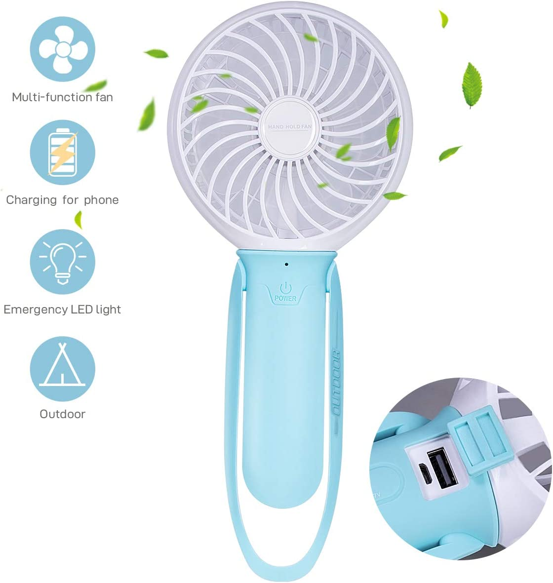 MATEPROX Silicone Handheld Fan,Battery Operated Fan Mini Fan Outdoor Fan with LED Light,USB Charging Personal Portable Fan for Home Office Outdoor Travel Camping Blue