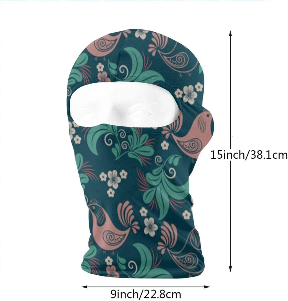 CAClifestyle Plant Flower Bird Seamless Pattern Unisex Windproof Balaclavas Full Face Mask Hood