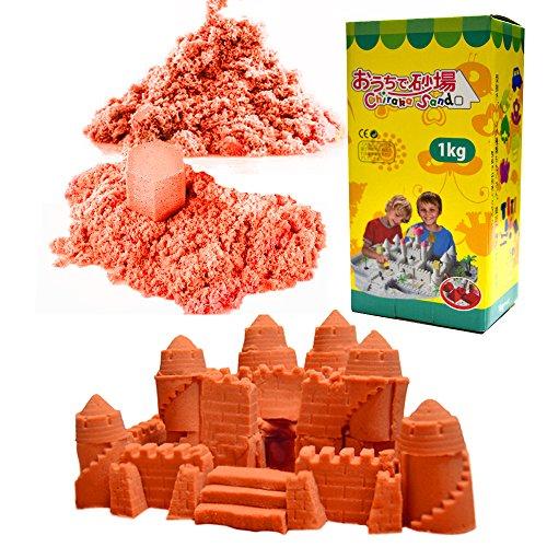 (チラカサンド) 追加用 砂 1kg 色つき で お片付け簡単 ふしぎな砂 カラー サンド 散らばらない 砂 (追加砂 オレンジ 1kg)