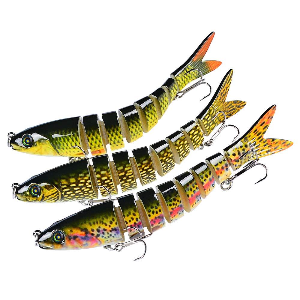 Sunlure Bass Fishing Lures Crankbaits Swimbaits Lure Artificial Bait Multi Jointed Lifelike Hard Baits Pike Muskie Shape Fish Tackle Kits 3 pcs/Set