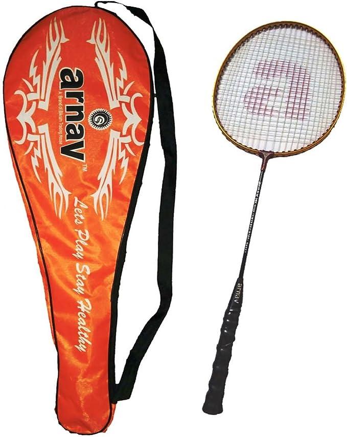Arnav Light Weight High Tempered Steel Shaft Badminton Racquet with Full Cover Racquets