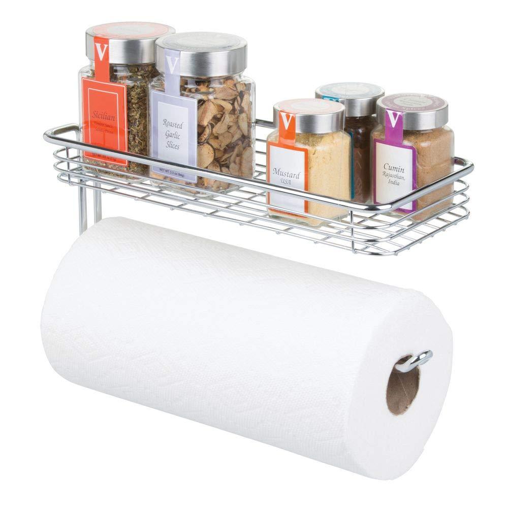mDesign – Portarrollos de papel de cocina de pared – Soporte para papel higiénico con bandeja