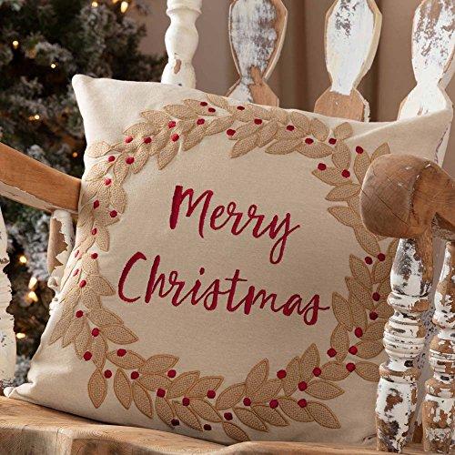 Piper Classics Christmas Wreath Throw Pillow Cover, 18