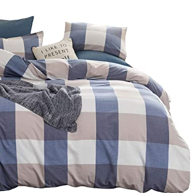 ATsense Duvet Cover King, 100% Washed Cotton, Bedding Duvet Cover Set, 3-Piece, Ultra Soft and Easy Care, Simple Style Farmhouse Bedding Set (Blue Grid J806-5)
