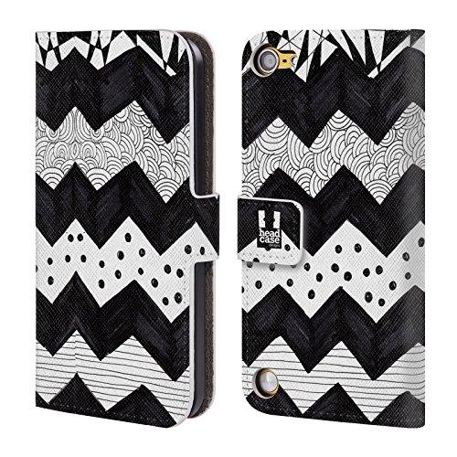 Head Case Designs Chevron Doodle Pattern Bianchi E Neri Cover a portafoglio in pelle per iPod Touch 5th Gen / 6th Gen