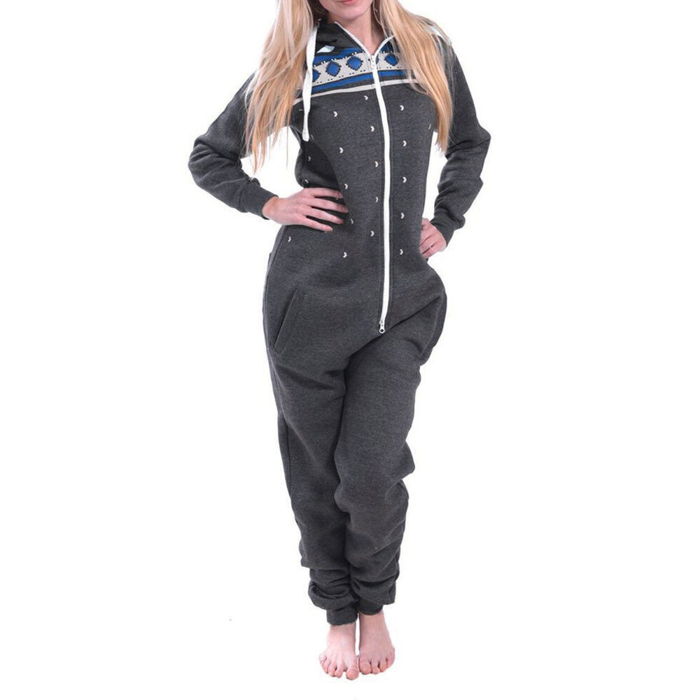 Hffan Damen Baumwolle Bequem Langarm Kapuzenoverall Modisch Jumpsuit Weich Damen-Pyjama Hausbekleidung mit Tasche V Ausschnitt Reißverschluss Bedruckt Pyjama