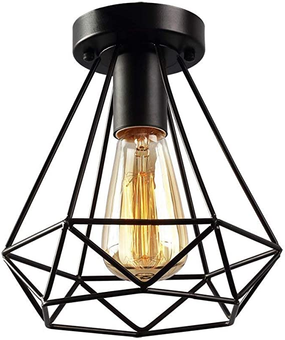 Klassische Deckenleuchte Black Diamond Shape Deckenleuchte Retro Iron Indoor Dome Light Industrielle Windleiste Geeignet Fur Nachtclub Ohne Gluhbirne 20cm H22cm Amazon De Beleuchtung