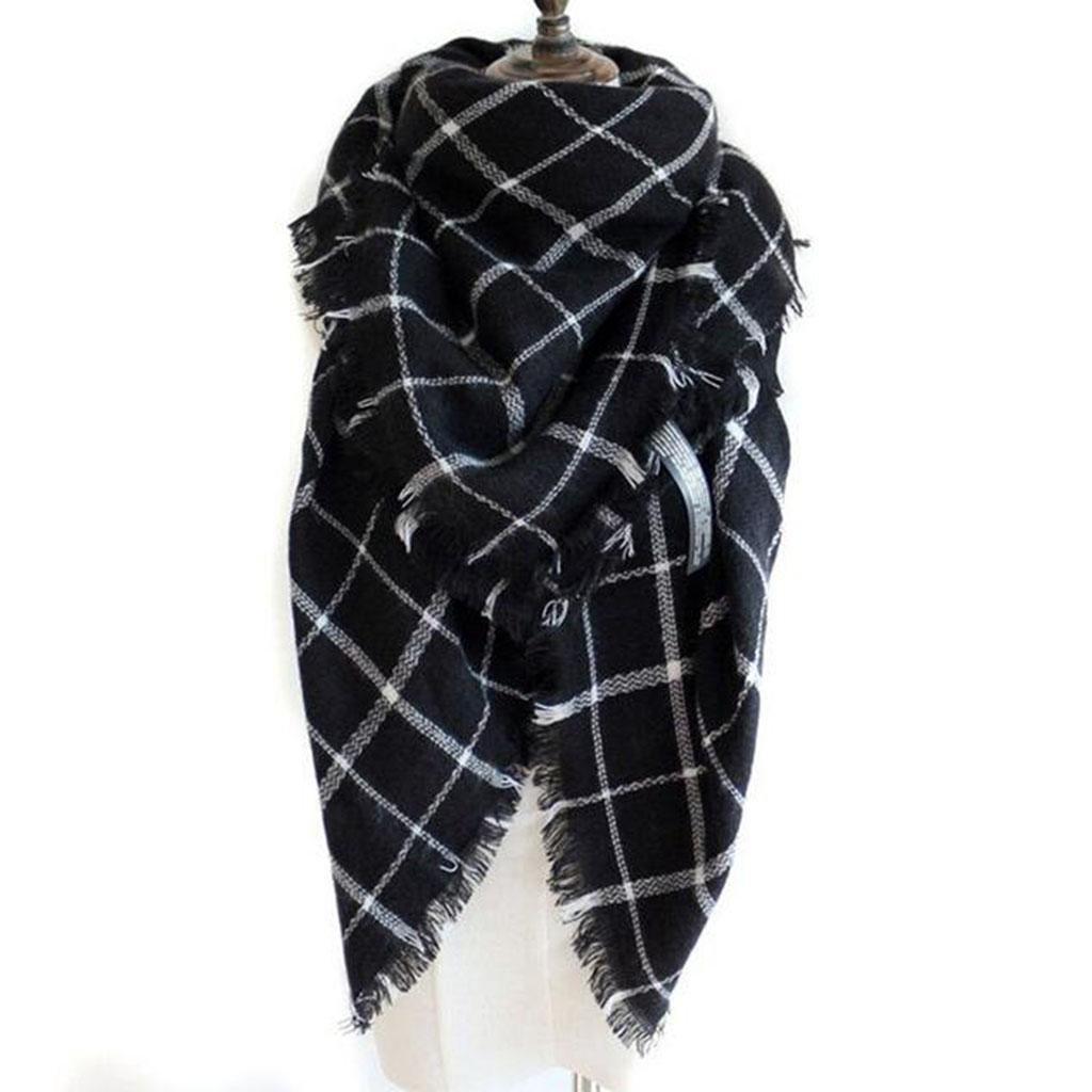 Otoño e invierno Sra bufanda negro enrejado chal Cuadrado Uso dual