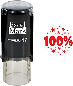 100% - ExcelMark Self-Inking Round Teacher Stamp - Red Ink