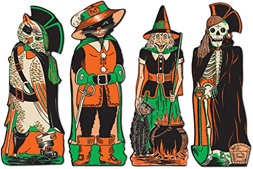 Beistle 4-Pack Fanci-Dress Cutouts, (Vintage Halloween Cutouts)