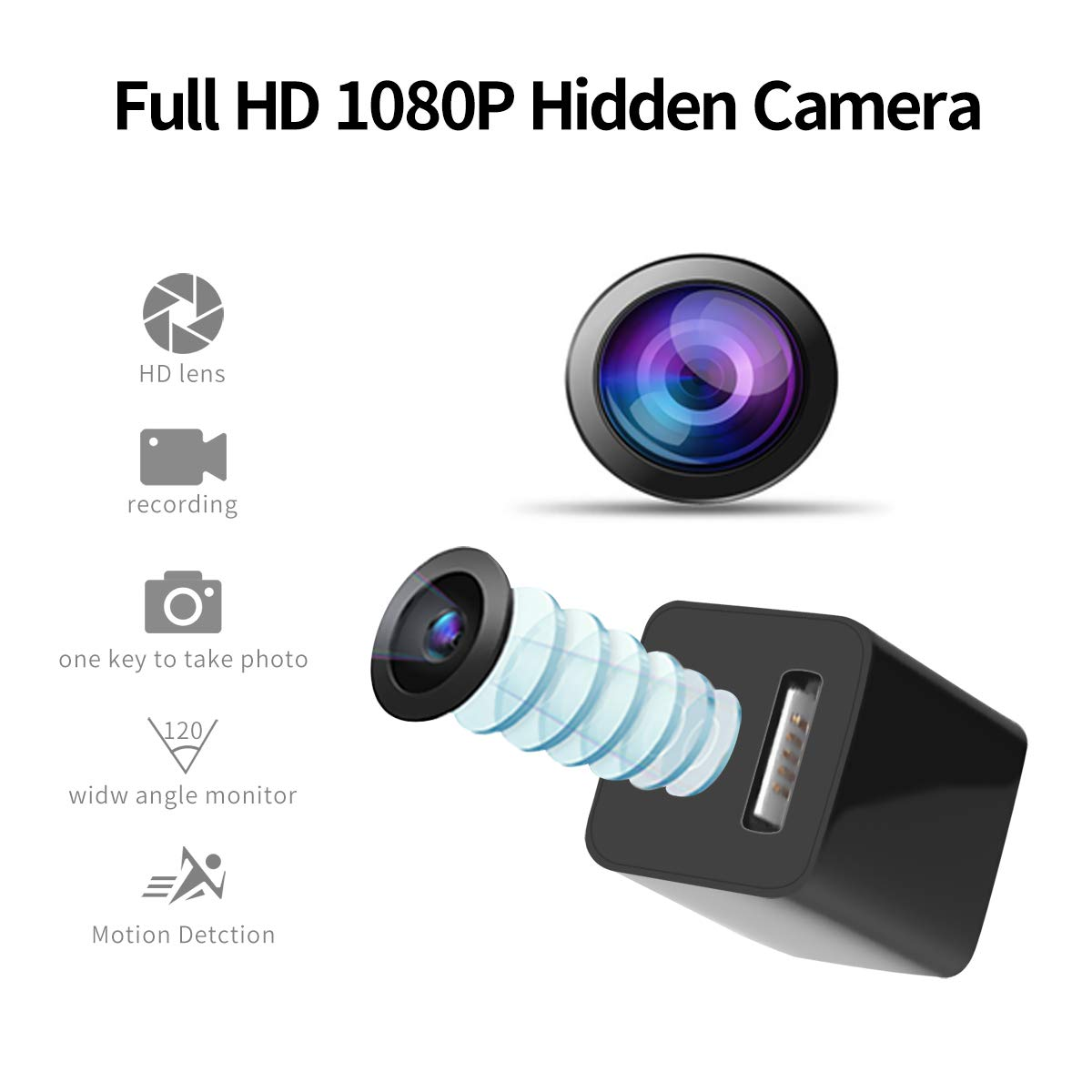 Spy Camera, Full HD 1080p Hidden Camera Charger, Loop Recording USB Hidden Spy Camera, No WiFi Needed Mini USB Charger Spy Camera, Hidden Spy Cam with Motion Detection, Can be Used as Phone Black