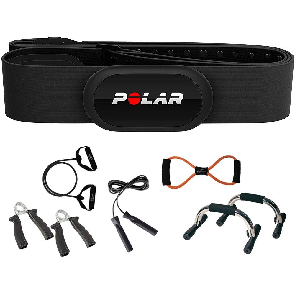Polar H10 Adjustable (M-XXL) Heart Rate Sensor and Fitness Tracker Black + Sharper Image 7-in-1 Total Resistance Fitness Kit by Polar