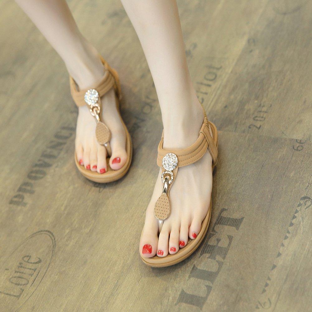 SANMIO Women Summer Flat Sandals Shoes,Bohemian T Strap Prime Thong Shoes Flip Flop Shoes by SANMIO (Image #3)