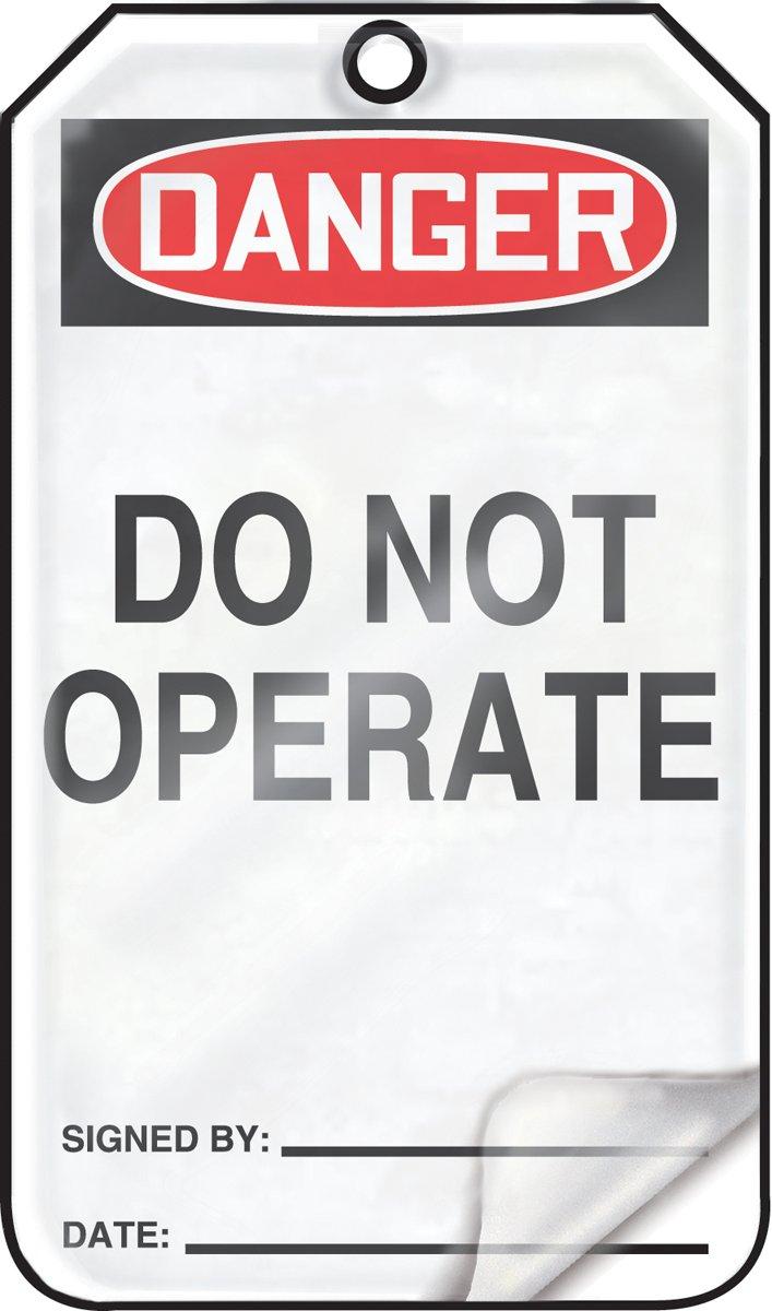 Red//Black on White 5.75 Length x 3.25 Width x 0.010 Thickness Pack of 5 LegendDANGER DO NOT OPERATE LegendDANGER DO NOT OPERATE 5.75 Length x 3.25 Width x 0.010 Thickness Accuform MDT112LCM PF-Cardstock Safety Tag