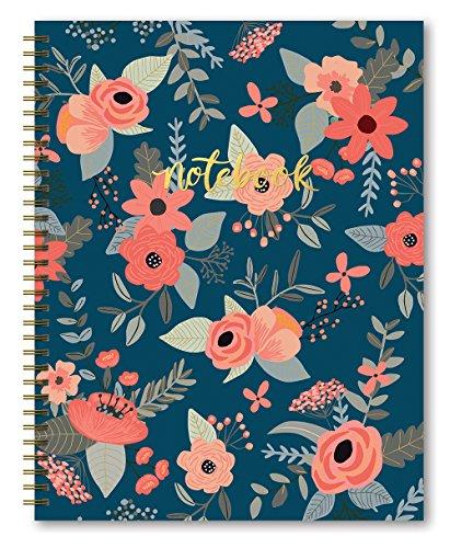 "Studio Oh! Hardcover Spiral Notebook, 8.5"" x 11"", Navy Secret Garden"