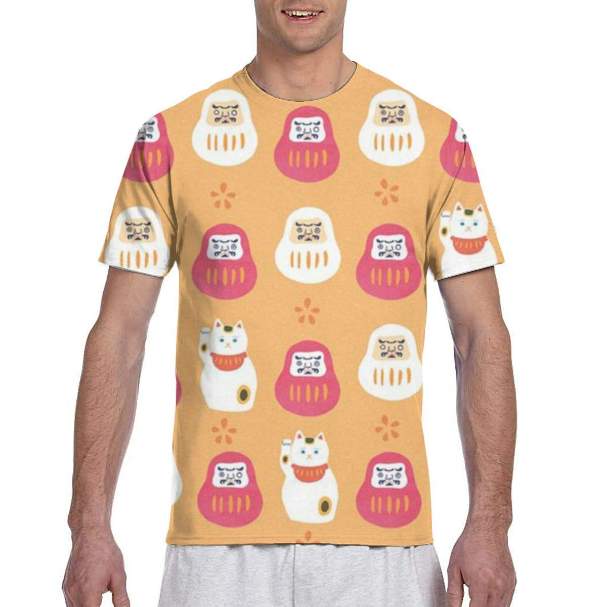 Mens T-Shirts Crew Neck Short Sleeve Japanese Dharma Lucky Cat Pattern Funny Graphics Top Tees