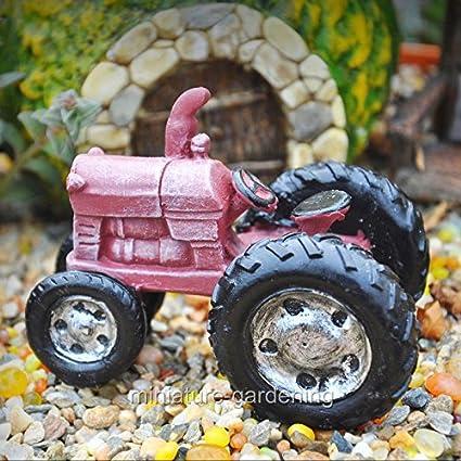 Amazon.com: Jardín de hadas en miniatura rojo granja Tractor ...